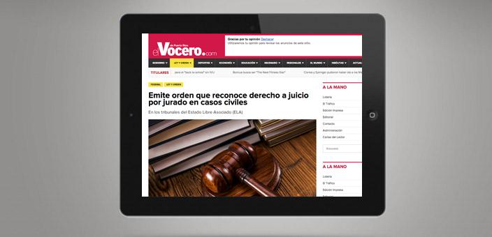 El Vocero de Puerto Rico: Emite orden que reconoce derecho a juicio por jurado en casos civiles.