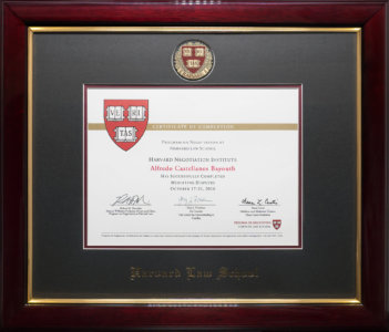 Certificate of Completion - Harvard Law School/MIT/Tufts' Premiere Executive Mediation Program.