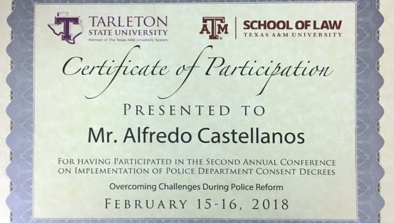 Mr. Castellnos was a panelist during the second-ever Annual Conference on Implementation of Police Department Consent Decrees.