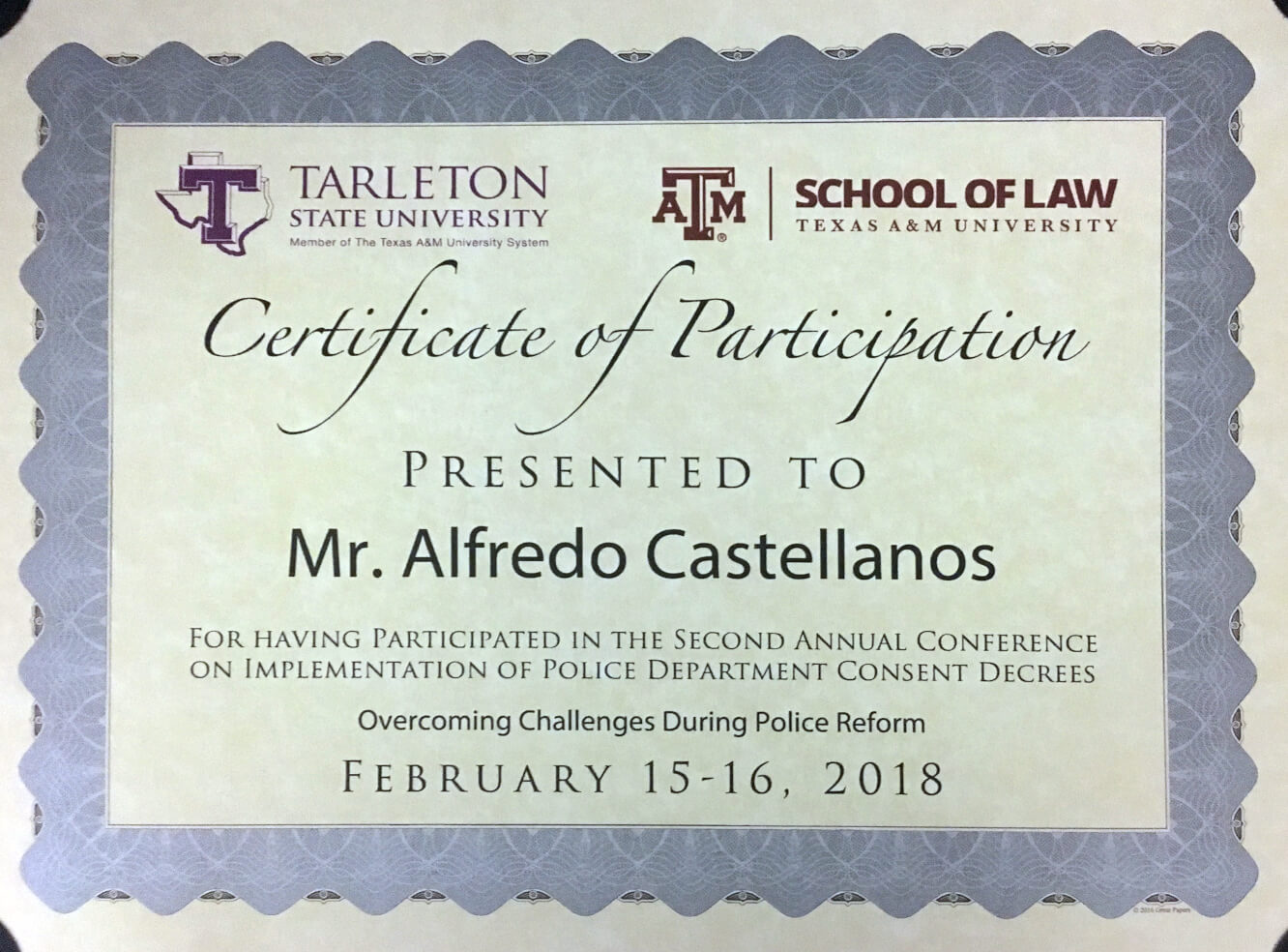 Second Annual Conference on Implementation of Police Department Consent Decrees -Tarleton's School of Criminology, Criminal Justice and Strategic Studies / Texas A&M University School of Law.